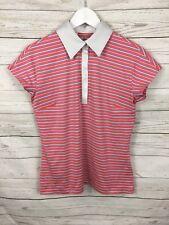 Womens Adidas Climalite Golf Polo Shirt - Medium UK14 -stripe - Great Condition