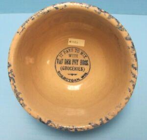 Red Wing Stoneware Sponge ware advertising Bowl 6 in Van Der Puy Bros Sheboygan