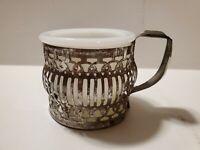 Vintage Ornate Shaving mug with milk glass insert