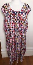 Marco Polo Woman Multicolour Diamond Print Sleeveless Loose Tunic Dress 22