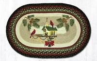 BRAIDED HAND STENCILED OVAL PATCH RUG By EARTH RUGS--CHRISTMAS BIRDHOUSE