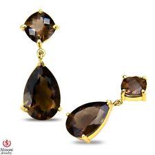 Women's Smokey Quartz Earrings Solid 10k Yellow Gold, Birthstone Jewelry