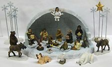 Alaska Eskimo Angel Nativity Crèche XL Igloo Set 22 Piece