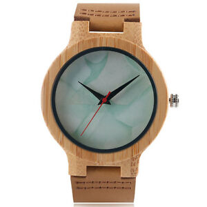 Simple Bamboo Nature Wood White Genuine Leather Band Women Wrist Watch Bracelet