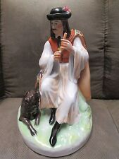 zsolnay Vintage Signed Man Playing Flute for his Dogh Zsolnay Porcelain