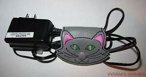 NEW EMBROIDERED GRAY VINYL CAT FACE CORD HOLDER ORGANIZER
