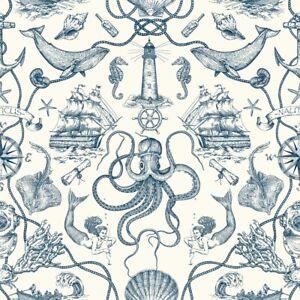 York Wallcoverings HO3361 Deep Sea Toile Wallpaper Blue