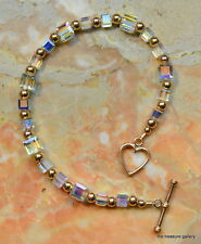 A very Beautiful Fine Austrian Crystal Cube Bracelet featuring rose gold beads a