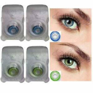 Soft Eye Aqua Blue & Green Color Lens with Case and Solution 2 Pair