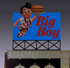 BIG BOY HAMBURGER ANIMATED NEON BILLBOARD SIGN -HO-SCALE -LIGHTS,BLINKS, MORE!
