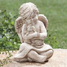 Little Angel Holding Puppy Dog Garden Cemetery Memorial Statue