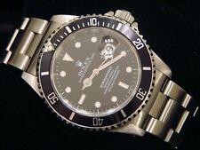Mens Rolex Submariner Stainless Steel Watch Sub Date Black Dial & Bezel 16610