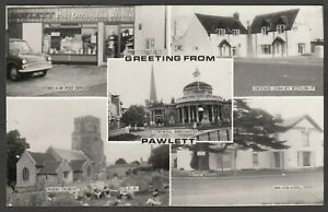 Postcard Pawlett nr Bridgwater Somerset post office Hillman motor car 761 YYA RP