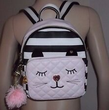 NEW BETSEY JOHNSON Pom Pom Quilted KITTY CAT Backpack Bag, Black White Pink MED