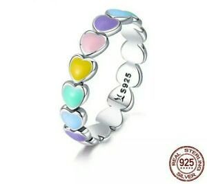 925 Genuine Sterling Stacked Silver Rainbow Hearts Ring  🌈❤️❤️ UK Size M/O/Q