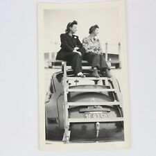 1946 Rose Parade Spectator Women On Top of 1940s Dodge Car B/W Photograph
