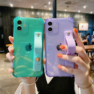 Shockproof Clear Wrist Strap Stand Case For iPhone 12 11 Pro Max XS XR 7 8 Plus