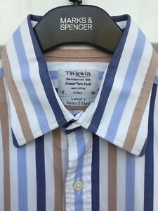 """T.M. LEWIN STRIPED BUSINESS SHIRT 16"""" COLLAR LUXURY SEMI-FITTED TWO FOLD COTTON"""