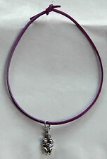 Pewter Fertility Goddess Pendant on Purple Leather Cord Free Shipping