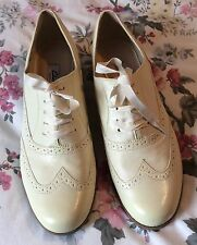 Ladies CLARKS HAMBLE OAK pale yellow/cream Leather BROGUES SHOES SZ 7.5 UK New