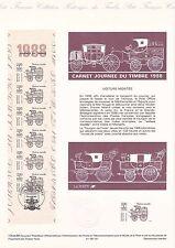 Document Philatélique 1er Jour : 12/03/ 1988 - Journée du Timbre Carnet Voiture