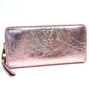 Valentino Garavani PW2P0P88CMC Metal pink V logo Long Wallet Coating Leather