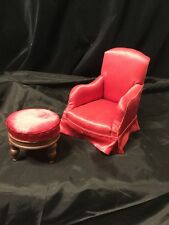 Vintage Upholstered Doll Chair And Stool