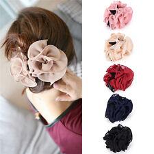 Mode femme mousseline rose fleur arc mâchoire clip barrette pince cheveux 3G