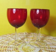 2 Solid (not plated) red glass Stemmed Cordial glasses Red glass is expensive!