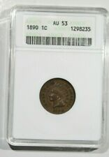 1890  ANACS  AU53 INDIAN HEAD PENNY Old White Holder
