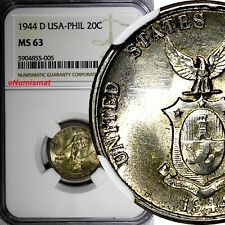Philippines Silver 1944 D 20 Centavos NGC MS63 Nice Toning KM# 182 (005)