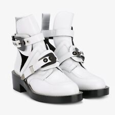 BALENCIAGA Ceinture Ankle Boots in White Leather Size 37 — NWB
