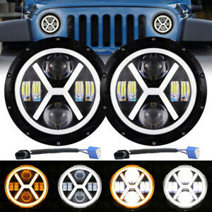 "7"" inch Round LED headlight Halo Projector Headlight for Jeep Wrangler JK TJ JL"