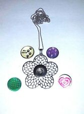 NEW SNAP FLOWER NECKLACE with DETAILED PETALS +4 snaps-fits w/Ginger snaps 18mm