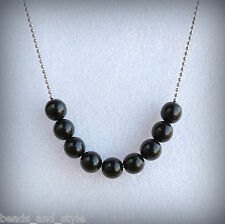 Long trendy antique silver chain black beaded fashion jewelry necklace