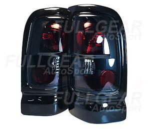 BLACK w/ LIGHT SMOKE TAIL LIGHT PAIR SET FOR DODGE RAM 1500 2500 3500 1994-2001