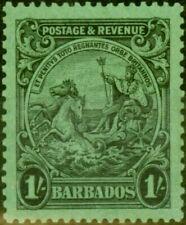 Barbades 1932 1s Black-Emerald SG237a P.13 x 12 V.F MTD Excellent État