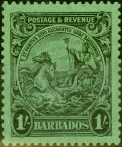 Barbados 1932 1s Black-Emerald SG237a P. 13 x 12 V.F Mtd Mint