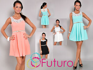 Ladies Unique Skater Dress With Belt Scoop Neck With Lace Tunic FC5643