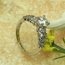 Gril Eternity 18K white gold filled white sapphire splendid ring Size 4 Rg 029