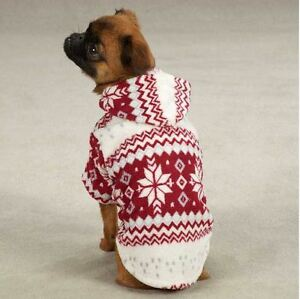 Dog Pet Snowdrift Cuddler Hoodie Sweater Top XXS-L Casual Canine Snowflake
