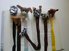 12 Plush ZOO ANIMAL BOOKMARKS party favors FREE SHIP book marks