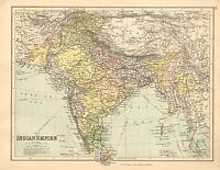 1902 Mapa ~ Indio Imperio ~ Ceilán Rajputana Bombay Madras Mysore Orissa
