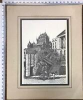 Lithography-Ink-Drawing-Signed-by-J-Rousseau-Rare-Vintage