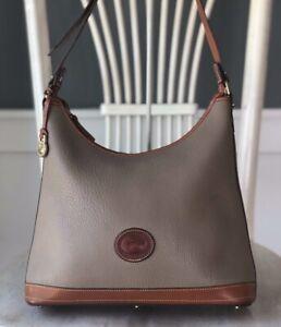 Vintage Dooney & Bourke R152 AWL LEATHER Taupe w/ Tan Hobo Shoulder Bag Purse