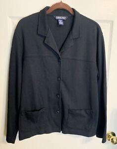 Lands' End Black Cotton Stretch Knit Jacket Blazer M 10/12  Ponte Cardigan