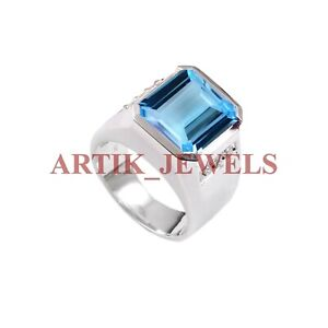 Natural Blue Topaz Gemstone with 925 Sterling Silver Ring for Men's #2719