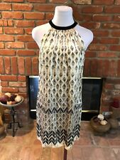 Designer MAGGIE LONDON sz 6 Black Cream Abstract Beaded Accent Neck SILK Dress