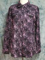 Wrangler Womens sz XL Pink Black Floral Western Pearl Snap Long Sleeve Top
