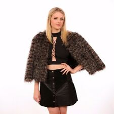Racoon faux fur coat size 12 layered faux fur & cropped sleeves